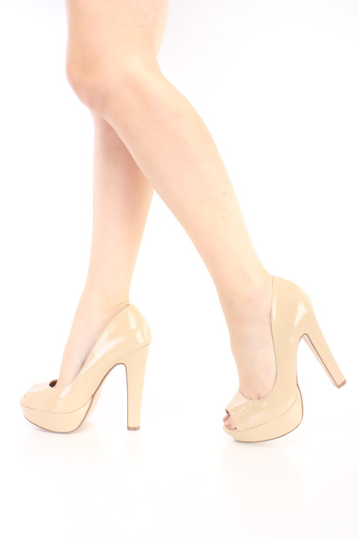 Dark Beige Peep Toe