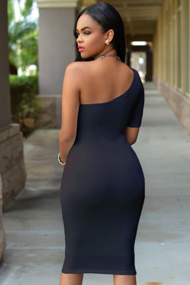 Black One Shoulder Bodycon Knee Length