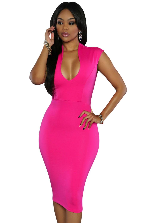 Rosy Low V Neck Knee Dress