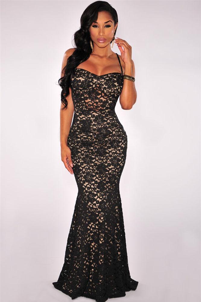black mermaid lace dress charming wear