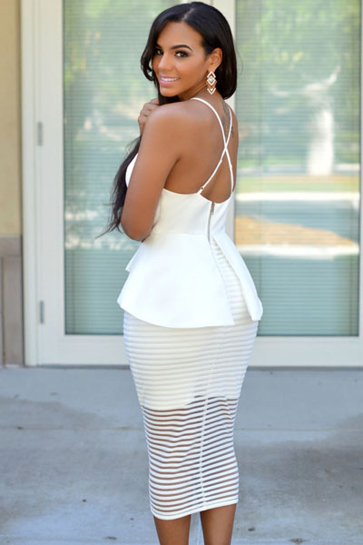 White Elegant V Neck Dress