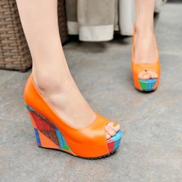 Orange Chunky Heels | Charming Wear