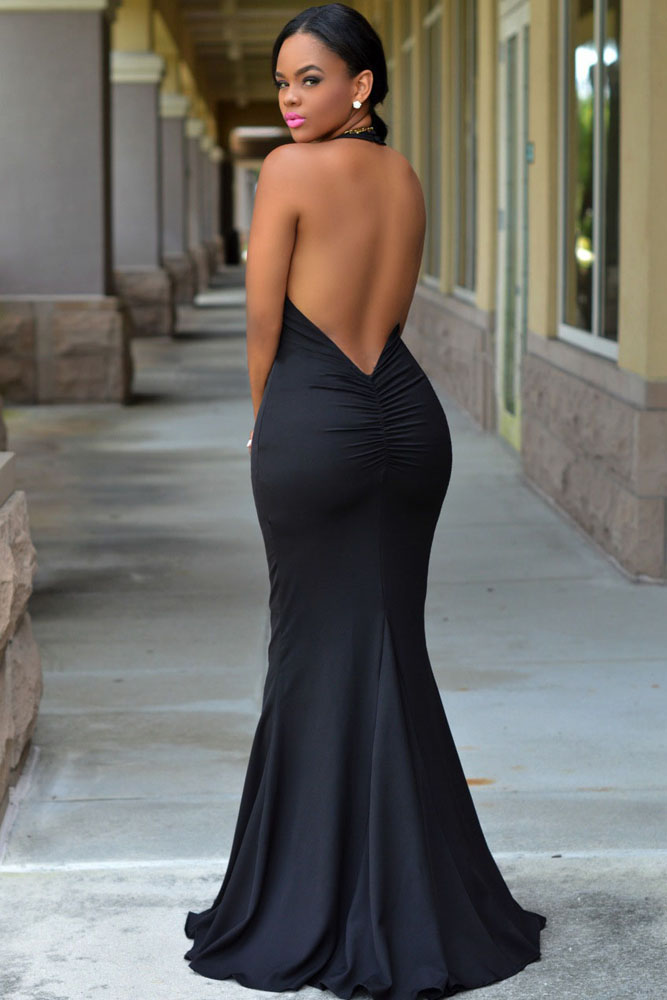 Black Halter Daring Back Gown