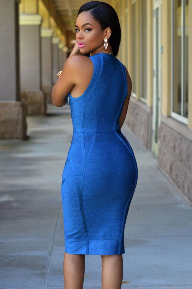 Blue Gold Zipper Luxe Bandage Dress