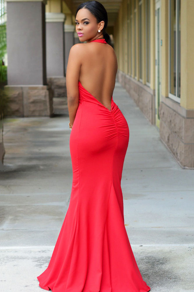 Red Halter Daring Back Gown