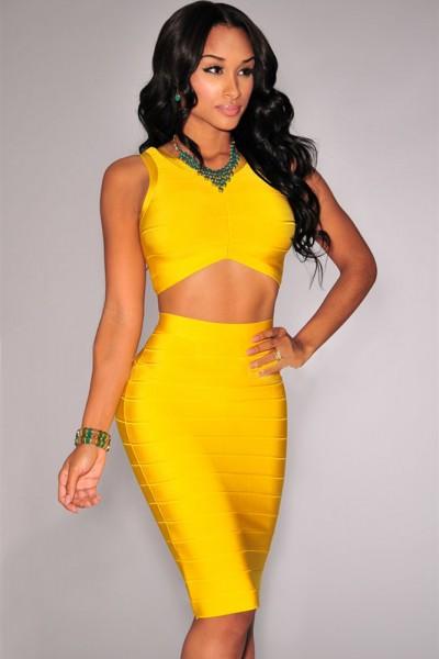 Yellow Arched Bandage Skirt Set