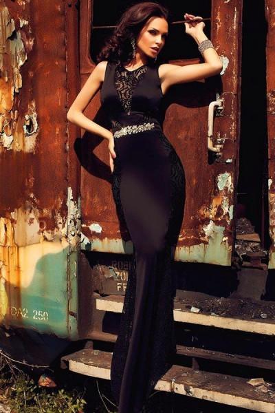 Black Lace Embellished Dress