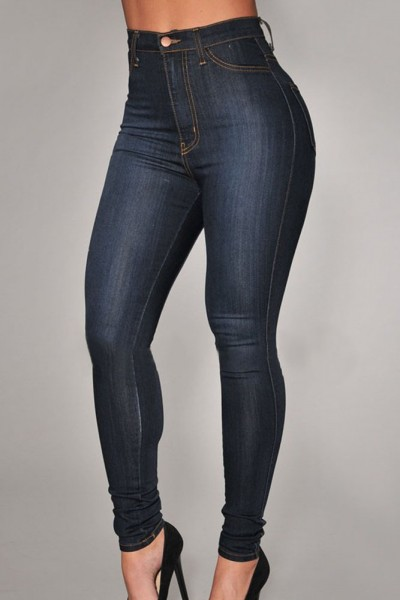 Dark Wash High-Waist Skinny Jeans