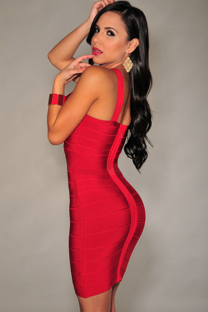 Red Cross Front Tight Dress