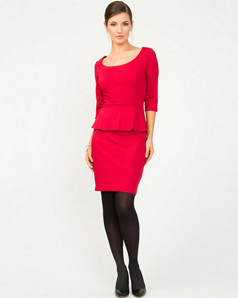 Ponte Red Peplum Cocktail Dress