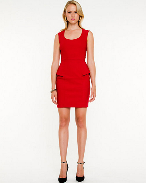 Red Peplum Cutout Back Dress