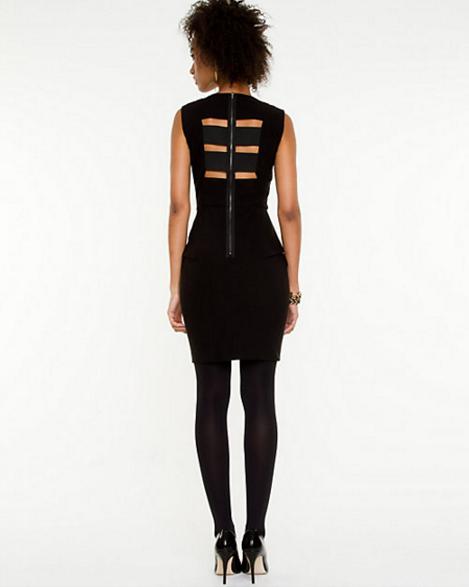 Black Peplum Cutout Dress