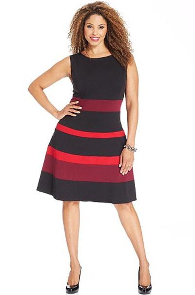 Plus Size Sleeveless Ponte-Knit A-Line Dress