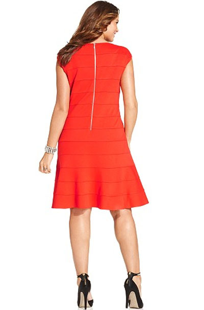 Spense Plus Size Cap-Sleeve A-Line Dress