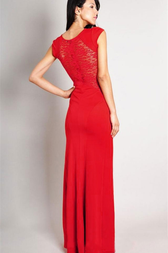 Red Maxi Dress with Lace