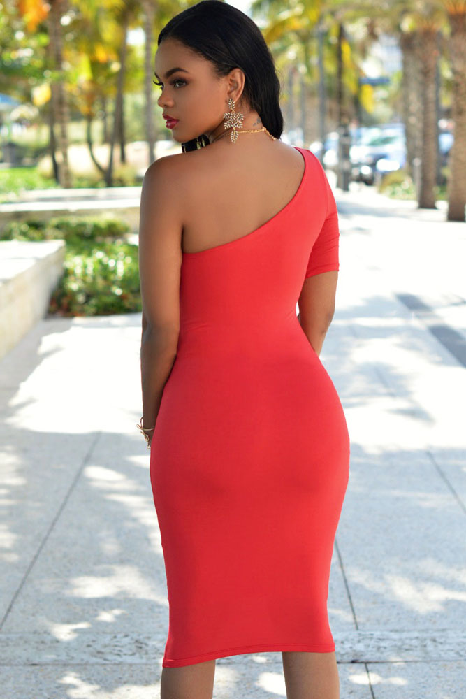 Red One Shoulder Bodycon Knee Length