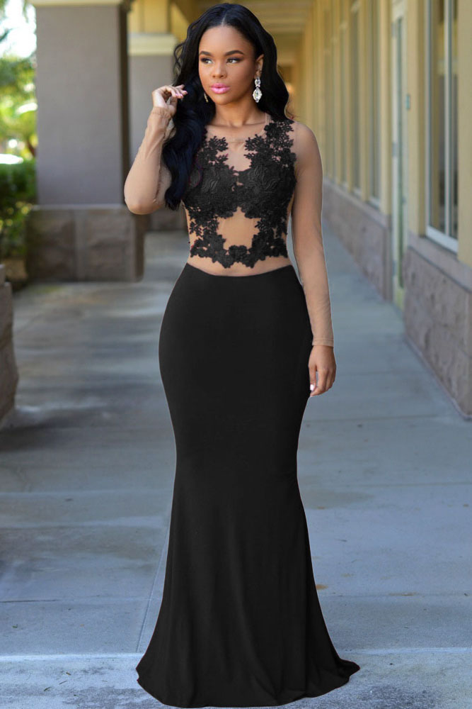 Nude Mesh Accent Maxi Dress