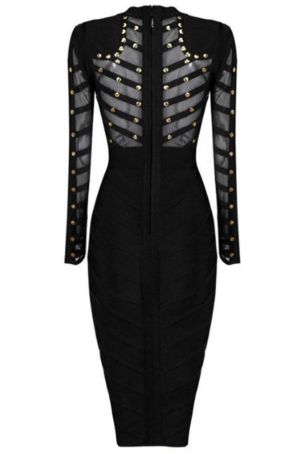 Black Studded Mesh Bandage Dress