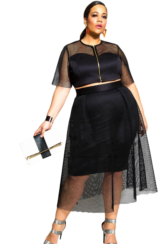 Black Mesh Joint Skirt Set