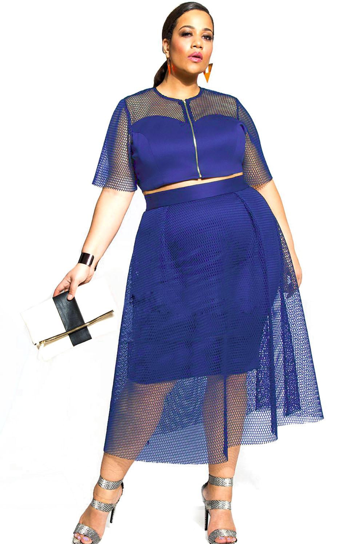 Blue Mesh Joint Skirt Set