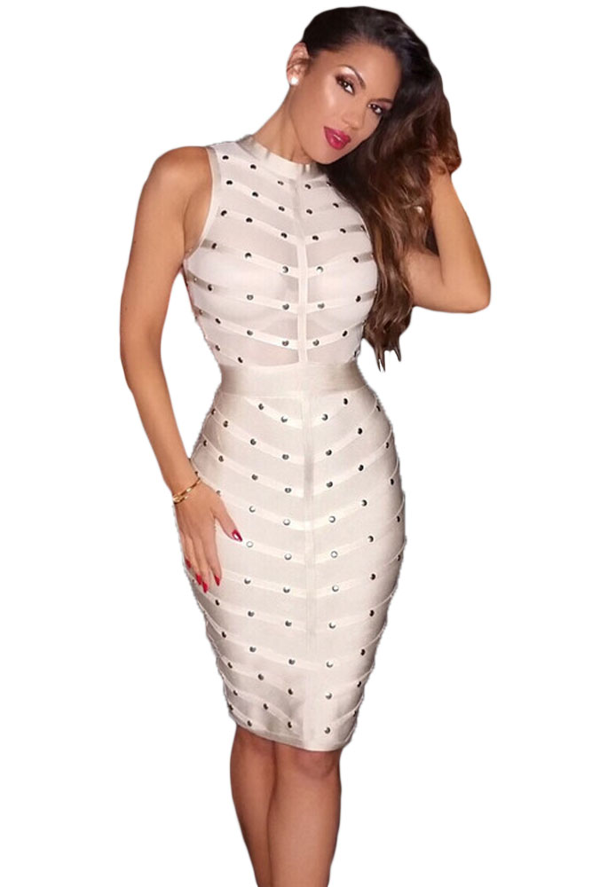 Apricot Studded Bandage Dress