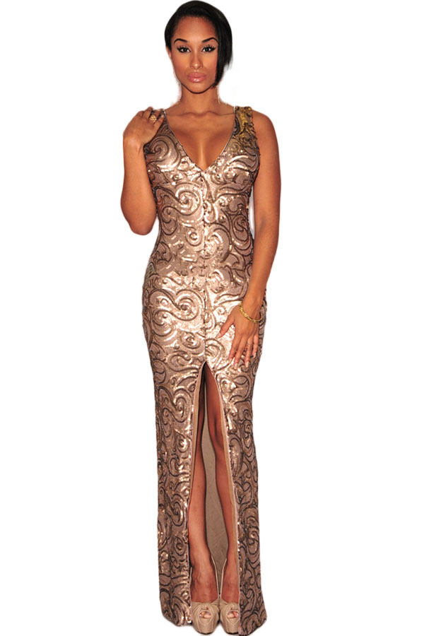 Gold Sequined Front Slit Padded
