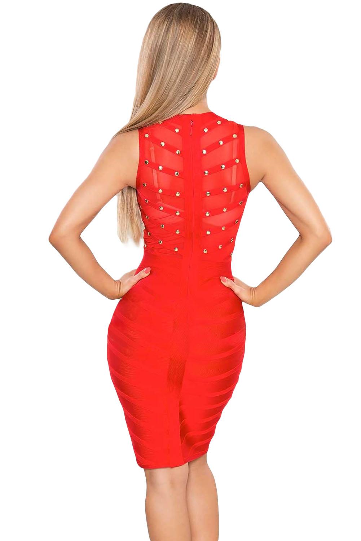 Red Studded Bandage Dress