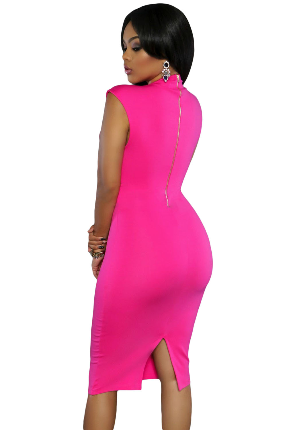 Rosy Low V Neck Knee Dress