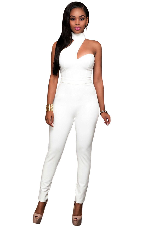 White Choker Open Back Jumpsuit