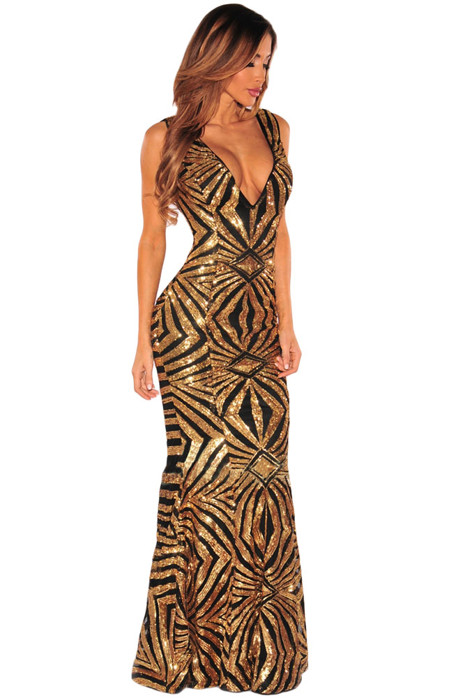 Black Gold Sequins Gown Dress Charming Wear
