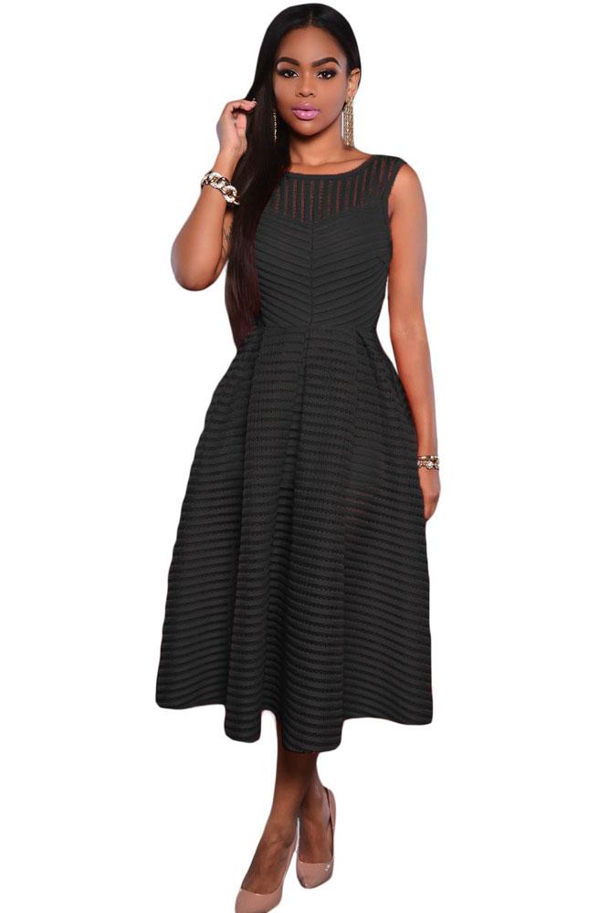 Black Stripes V Back Midi Dress