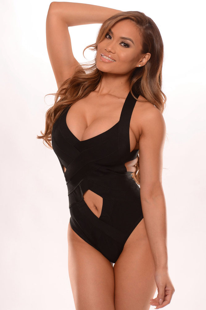 Black One-piece Bandage Swimsuit