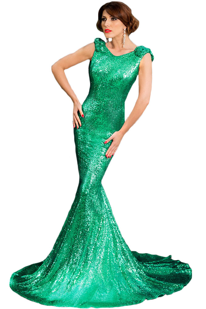 Green Full Sequin Big Bow Accent Dress