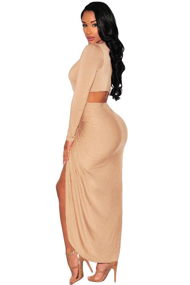 Cut Out Drape Slit Long Sleeve Dress