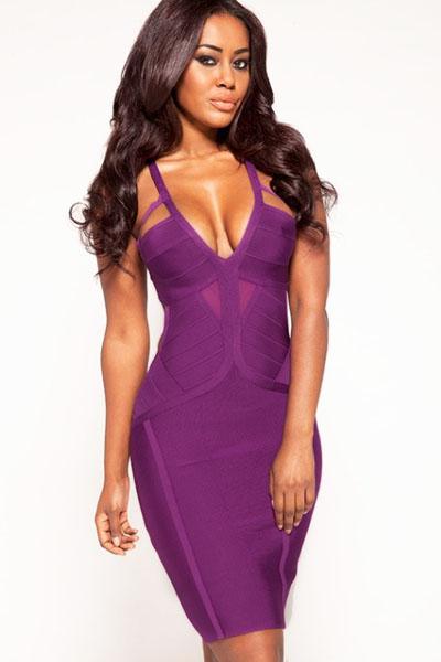 Purple Textured Cutout Bandage Dress