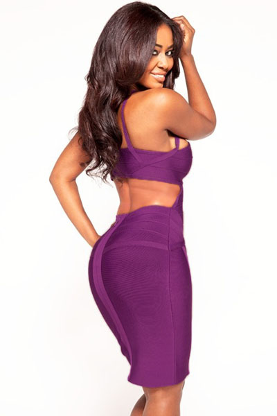 Purple Textured Cutout Bandage Dress