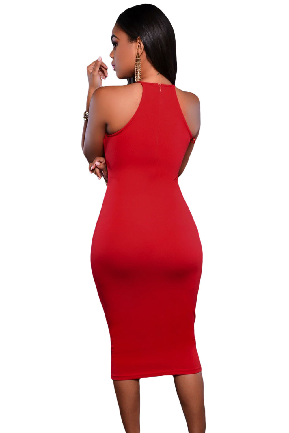 Red Embroidered Top Front Slit Party Dress