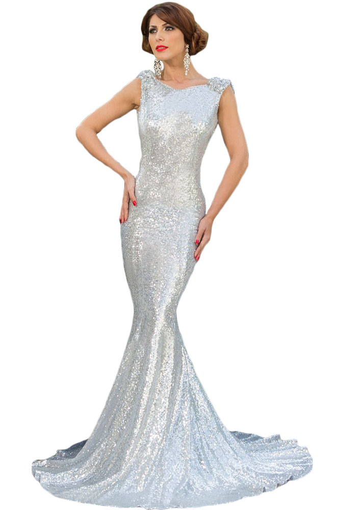 Silver Full Sequin Big Bow Accent Party Dress
