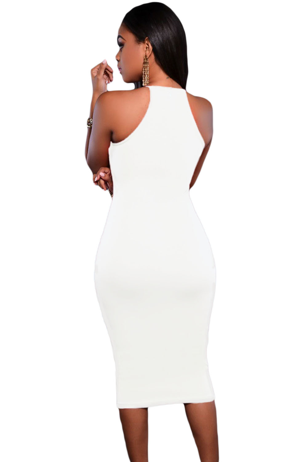 White Embroidered Top Front Slit Party