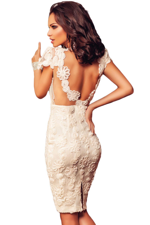 White Flowery Lace Short Princess
