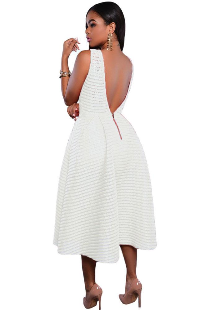 White Stripes V Back Midi Dress