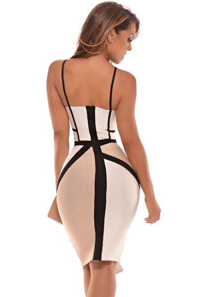 Apricot & White Bandage Dress