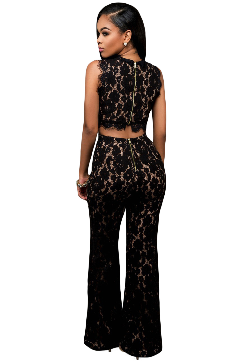 Lace Nude Illusion Jumpsuit