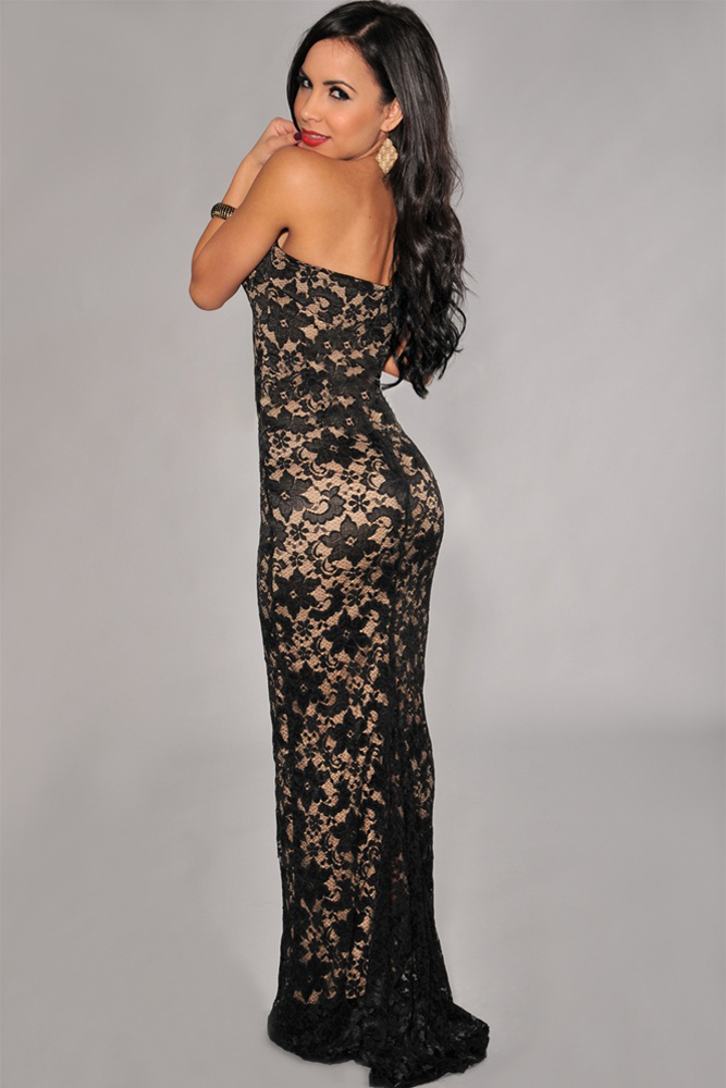 V Neck Strapless Gown