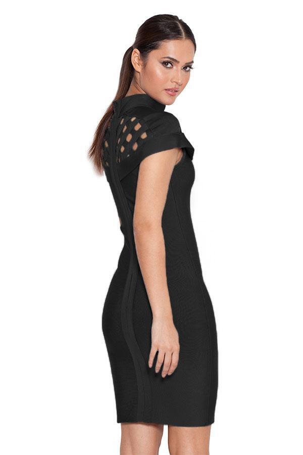 Black Lattice Bandage Dress