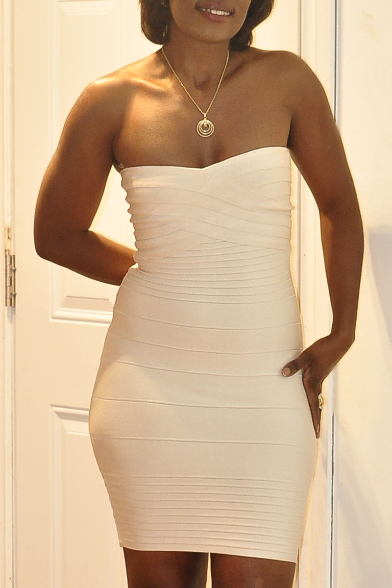 Champagne Strapless Bandage Dress