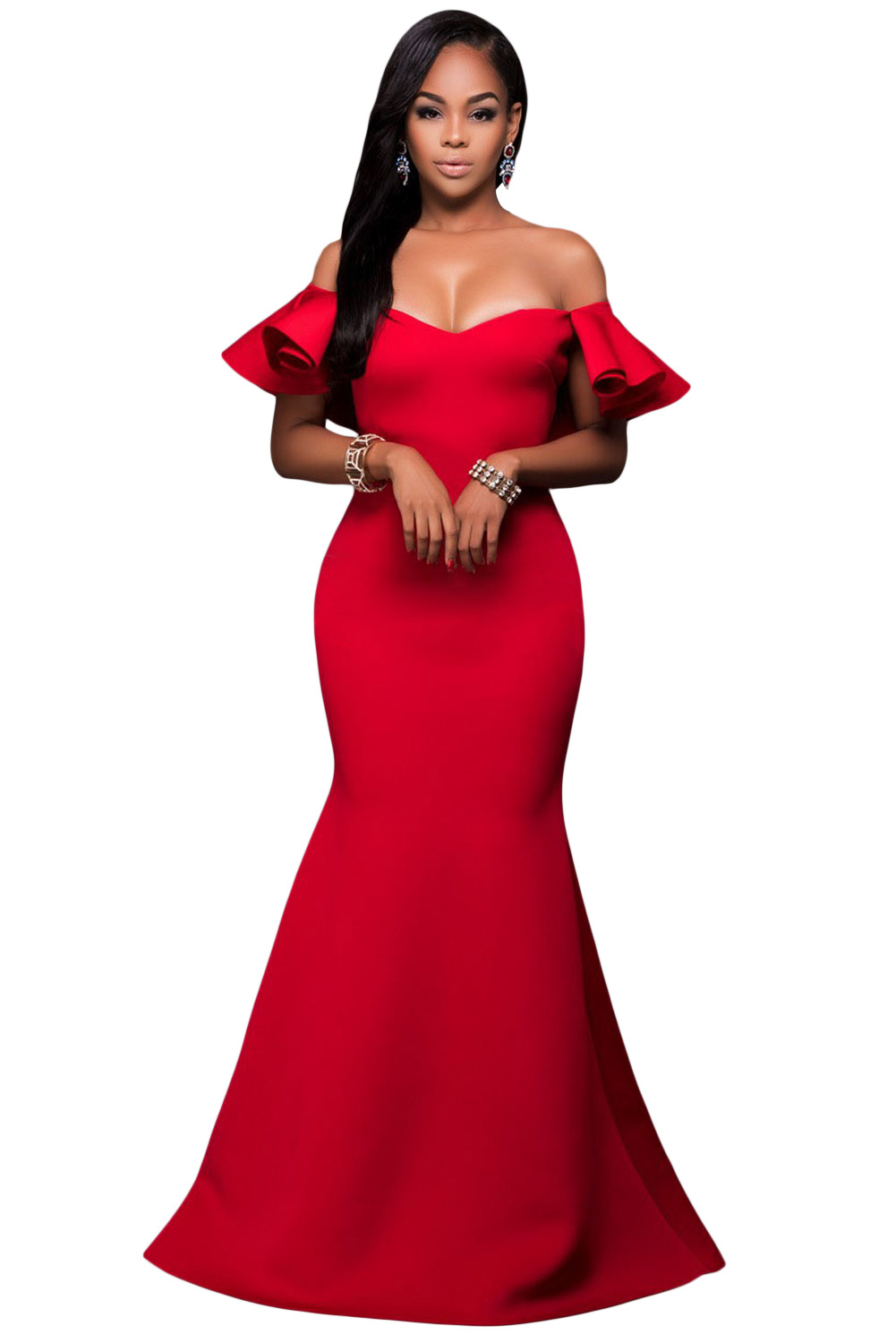 Gorgeous Ruffle Accent Hot Red Party Gown