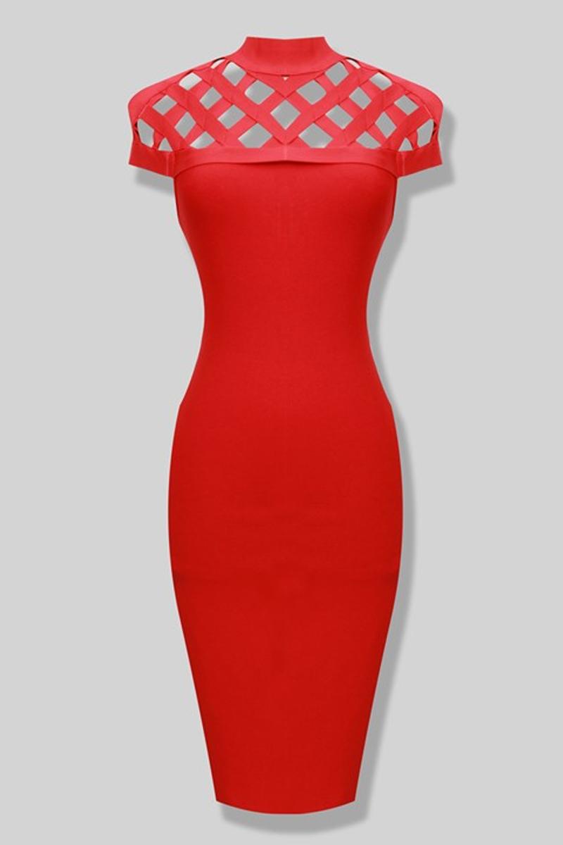 Red Lattice Bandage Dress