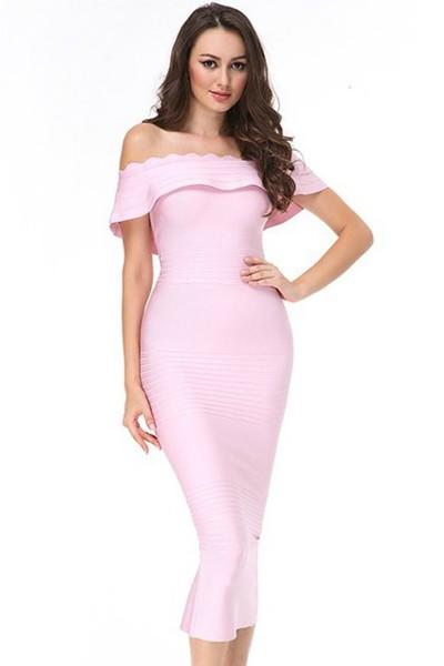 Elegant Off Shoulder Shortsleeve Maxi Pink Peplum Neck