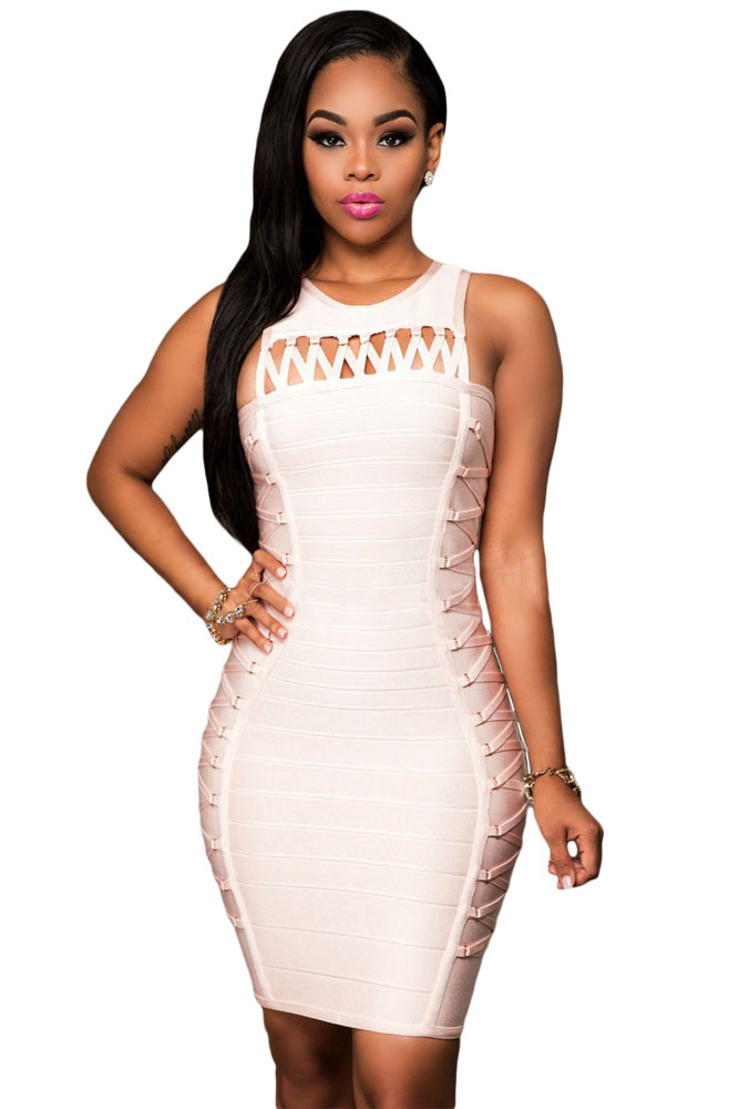 Pink Lace Up Design Luxe Bandage Dress